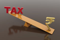 Tax Concept with Rupee symbol. 3D Rendered Image Royalty Free Stock Photos