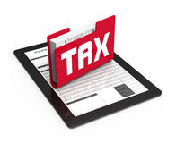 Tax concept. Tax word on the folder tablet computer Royalty Free Stock Photography