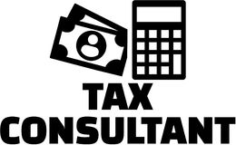 Tax consultant with money and calculator icon Stock Photography