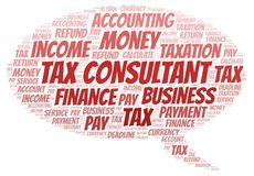 Tax Consultant word cloud. Wordcloud made with text only stock illustration