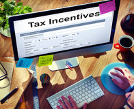 Tax Credits Claim Form Concept. People Looking Information Tax Incentives Form stock photo
