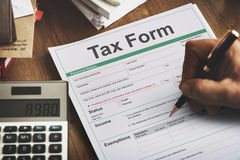 Tax Credits Claim Return Deduction Refund Concept. Tax Information form Application Concept stock photography