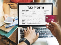 Tax Credits Claim Return Deduction Refund Concept. Senior couple fill out tax form and credit card details online royalty free stock photos