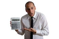 Tax and crisis. Concept with businessman and negative number Stock Photos