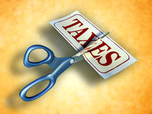 Tax cut. Some scissors are cutting a piece of paper with the word taxes. Digital illustration. Included clipping path allows to isolate objects from background Stock Image