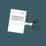 TAX cut illustration, Business Concept. Scissor Cutting Tax Form Paper Royalty Free Stock Image