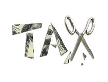 Tax cuts. Isolated illustration of pieces of a banknote and scissors illustrating tax cuts Royalty Free Stock Photography