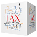 Tax 3D cube Word Cloud Concept Stock Photo