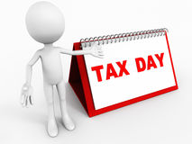 Tax date. Day or date of tax, concept of tax filing, estimation, consulting and accounting. man figure presenting the word on calender Stock Image