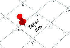 Tax day. Reminder for taxes being due on april 15th Stock Photos