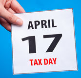 Tax day. Calendar date April 17 Stock Photo