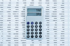 Tax day in the display of a calculator Royalty Free Stock Photo
