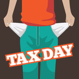 Tax day flat design. Pulling out empty pockets. Royalty Free Stock Photography