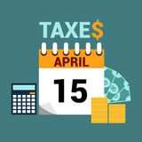 Tax day flat style illustration Stock Image