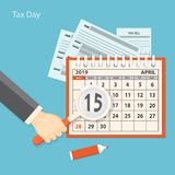 Tax day with human hand keeping the magnifier. Flat modern business concept of tax day, payments time, tax time with human hand keeping the magnifier and showing royalty free illustration
