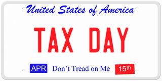 Tax Day License Plate. An imitation United States license plate with the words TAX DAY and April 15th on stickers. Don't tread on me on bottom vector illustration
