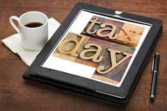 Tax day reminder on digital tablet Stock Image