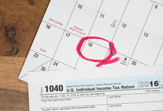 Tax day for 2016 returns is April 18, 2017 Stock Image