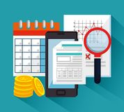 Tax day time set icons. Vector illustration design Stock Photos
