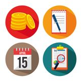 Tax day time set icons. Vector illustration design Royalty Free Stock Photo