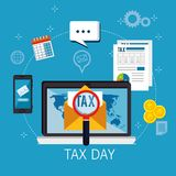 Tax day time set icons. Vector illustration design Stock Images