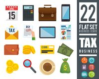 Tax day time set icons. Vector illustration design Stock Photography
