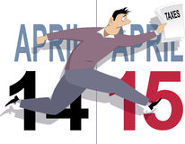 Tax day in USA. Worried cartoon man running with a tax forms in his hand, calendar pages for April 14 and 15 on the background, vector illustration royalty free illustration