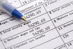 Tax Day W2 Form Stock Photography
