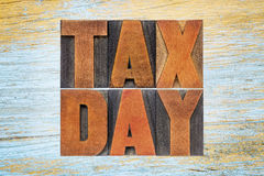 Tax day word abstract in vintage wood type Stock Images
