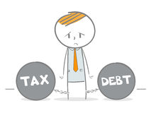 Tax and Debt. Doodle stick figure dragging a tax and debt metal balls and chains Stock Photos