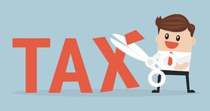 Tax Deduction. Business Concept, vector illustion flat design style. Tax Deduction. Business Concept on blue background, vector illustion flat design style Stock Photo