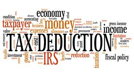 Tax deduction. Corporate accounting industry issues and concepts word cloud illustration. Word collage concept Royalty Free Stock Photo