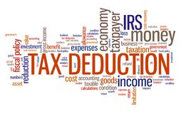 Tax deduction. Corporate accounting industry issues and concepts word cloud illustration. Word collage concept Stock Photography