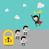 Tax Deduction for investment concept,cartoon businessman with key in his hand to un lock. cartoon. Vector business finance. Tax Deduction for investment concept Royalty Free Stock Images