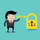 Tax Deduction for investment concept,cartoon businessman with key in his hand to un lock. cartoon. Vector business finance. Tax Deduction for investment concept Stock Photo