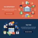 Tax Department Horizontal Banners. Set of horizontal banners with tax department, income and property, duty payment time isolated vector illustration Royalty Free Stock Photos