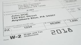 Tax document for the IRS W-2 Tax form