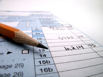 Tax Documents for Filing Taxes in America 1040 and Pencil Royalty Free Stock Photography