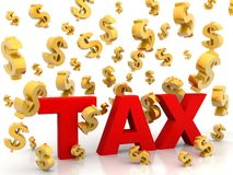 Tax from dollars Rain Royalty Free Stock Images