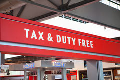 Tax and duty free logo sign Stock Photos
