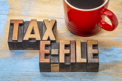Tax e-file word abstract Stock Photography