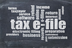 Tax e-file word cloud Royalty Free Stock Photos