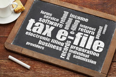 Tax e-file word cloud Stock Photos