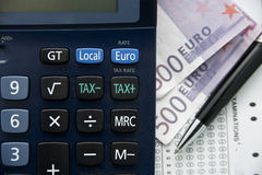 Tax euro calculator Royalty Free Stock Photography