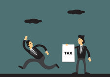 Tax Evasion Concept Funny Cartoon Vector Illustration. Cartoon businessman running away from tax collector. Vector illustration on tax evasion concept Royalty Free Stock Photography