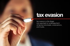 Tax evasion definition Stock Image
