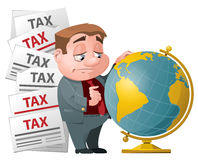 Tax evasion. Sad man looking for a place on the globe. Cartoon styled vector illustration. Elements is grouped and divided into layers for easy edit Stock Photos