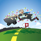 Tax evasion - smuggling savings to Switzerland. Tax evasion - vector illustration of a cartoon man who is in a hurry and brings his savings to Switzerland in Royalty Free Illustration