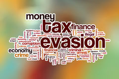 Tax evasion word cloud with abstract background Royalty Free Stock Image