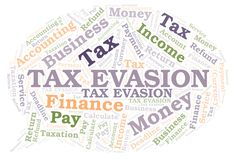 Tax Evasion word cloud. Wordcloud made with text only stock illustration